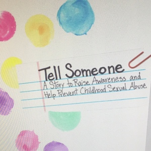 screen shot of the cover of Tell Someone